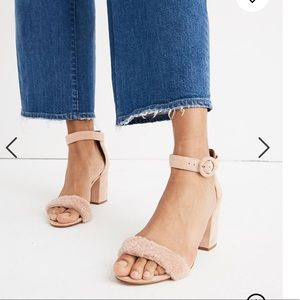 Madewell Pink Suede Regina Sandals w/ Shearling